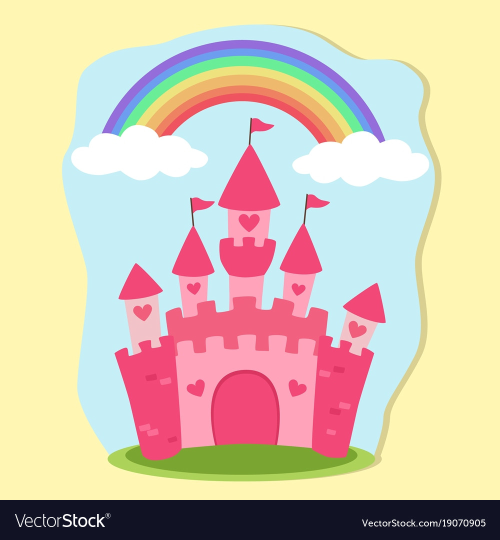 Pink princess castle rainbow fairy tale royalty free vector pink princess castle rainbow fairy tale vector image stopboris Choice Image