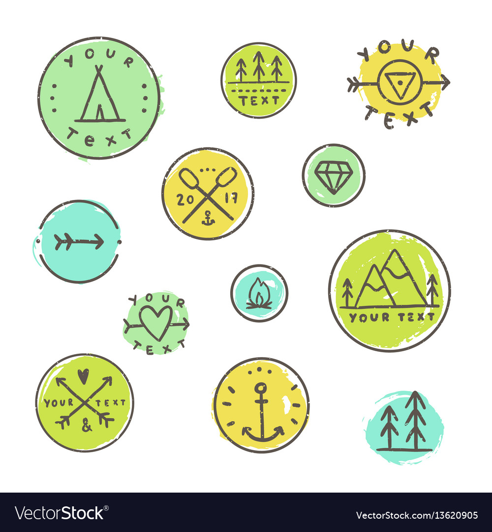 Set of camping badges vector image