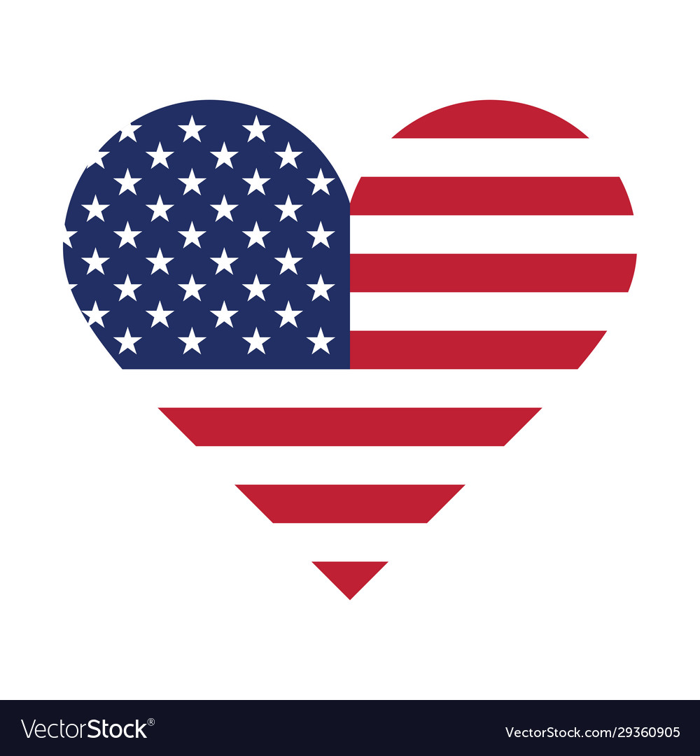 Usa flag in form a heart