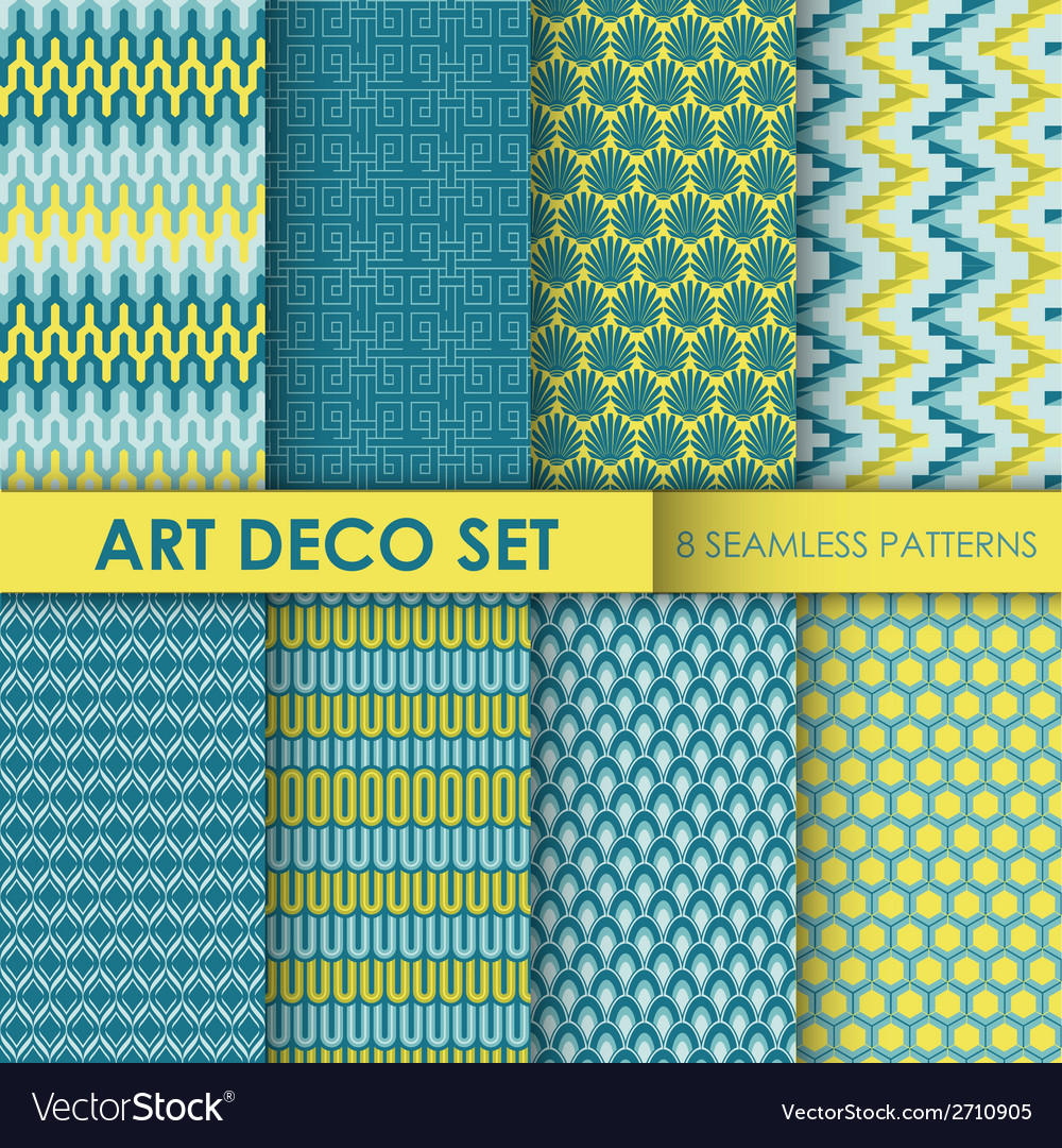 Vintage Art Deco Background Set vector image