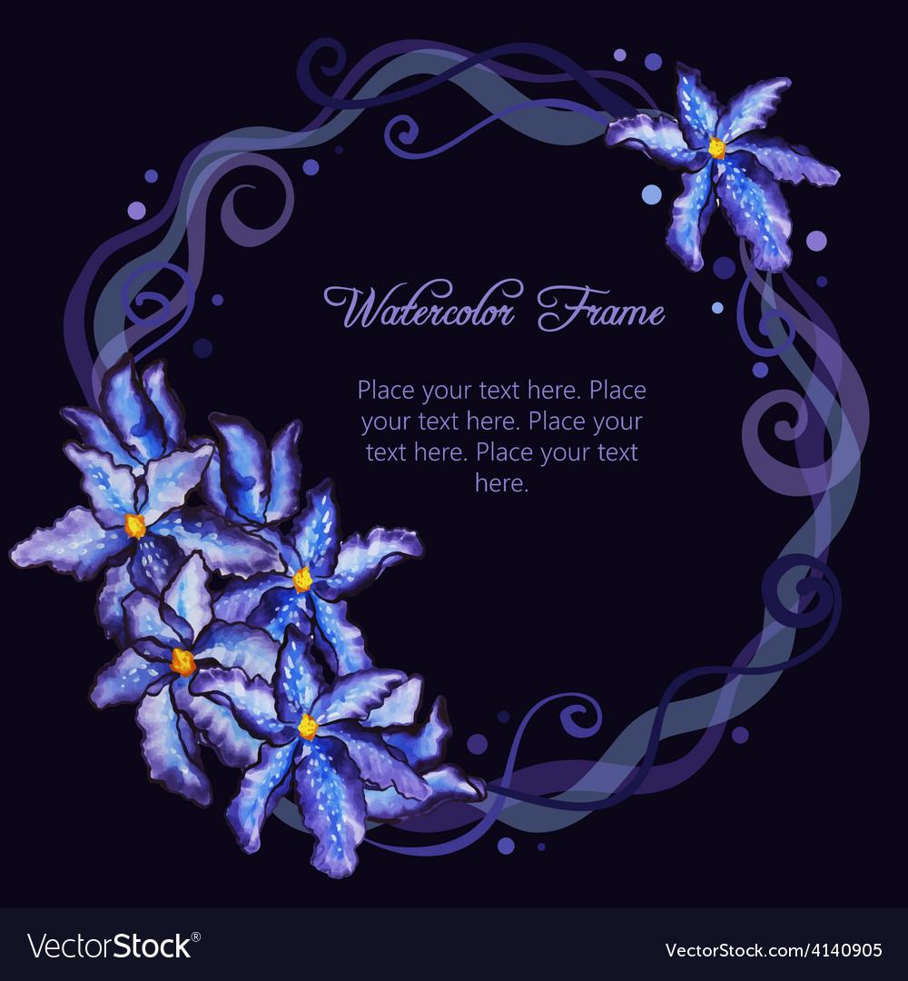 Watercolor floral frame purple iris