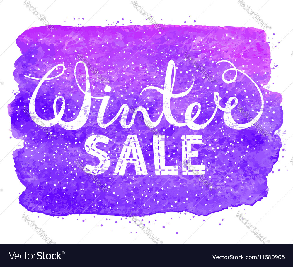 Winter sale text lettering on watercolor