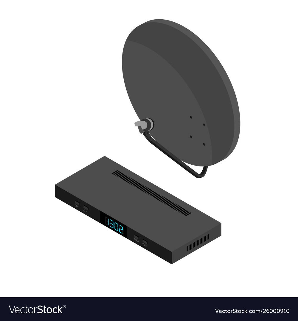 Black satellite decoder receiver and antenna