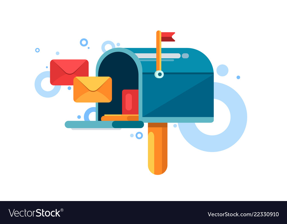 Blue mailbox with red flag and letters inside