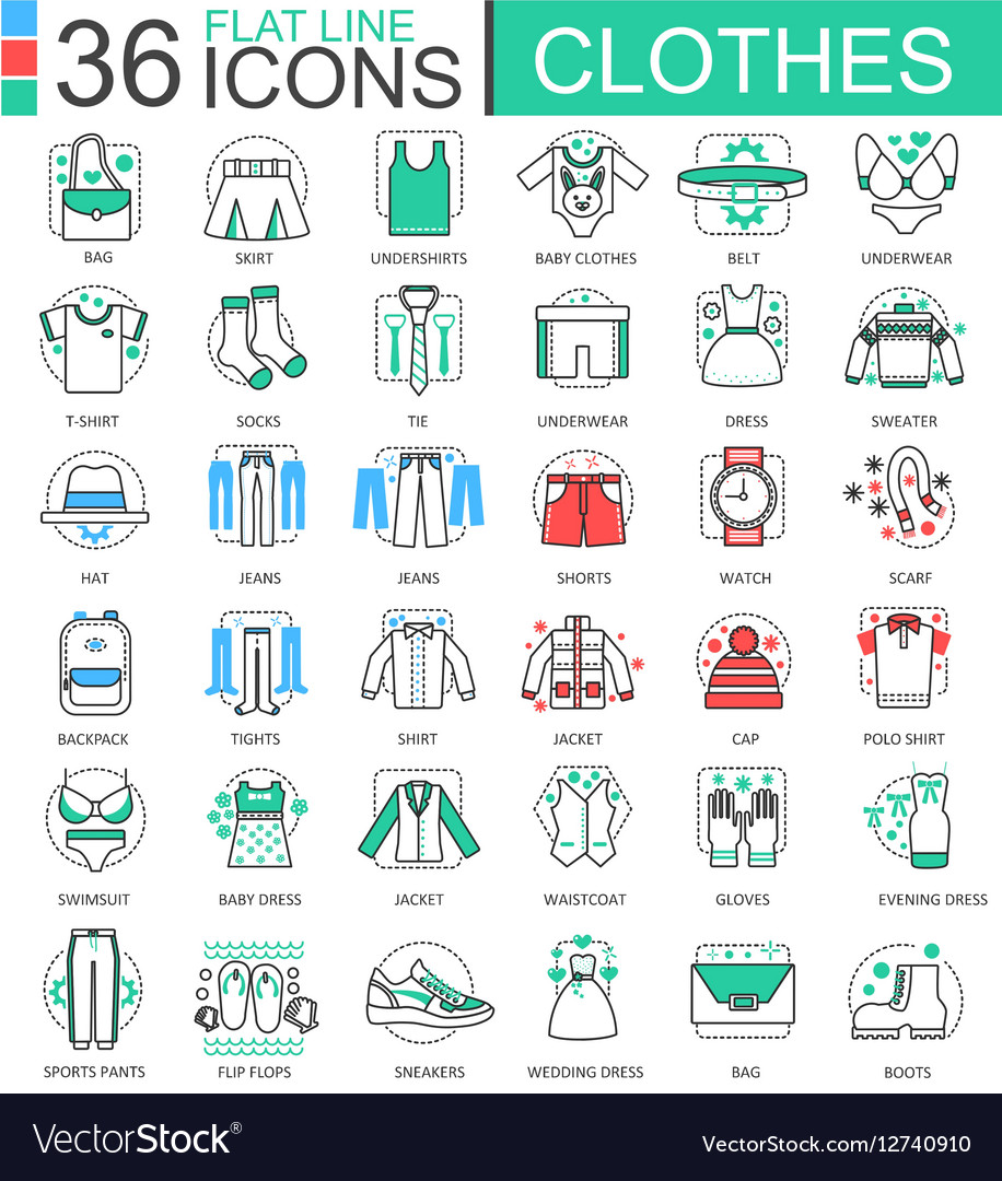 Clothes shoes flat line outline icons