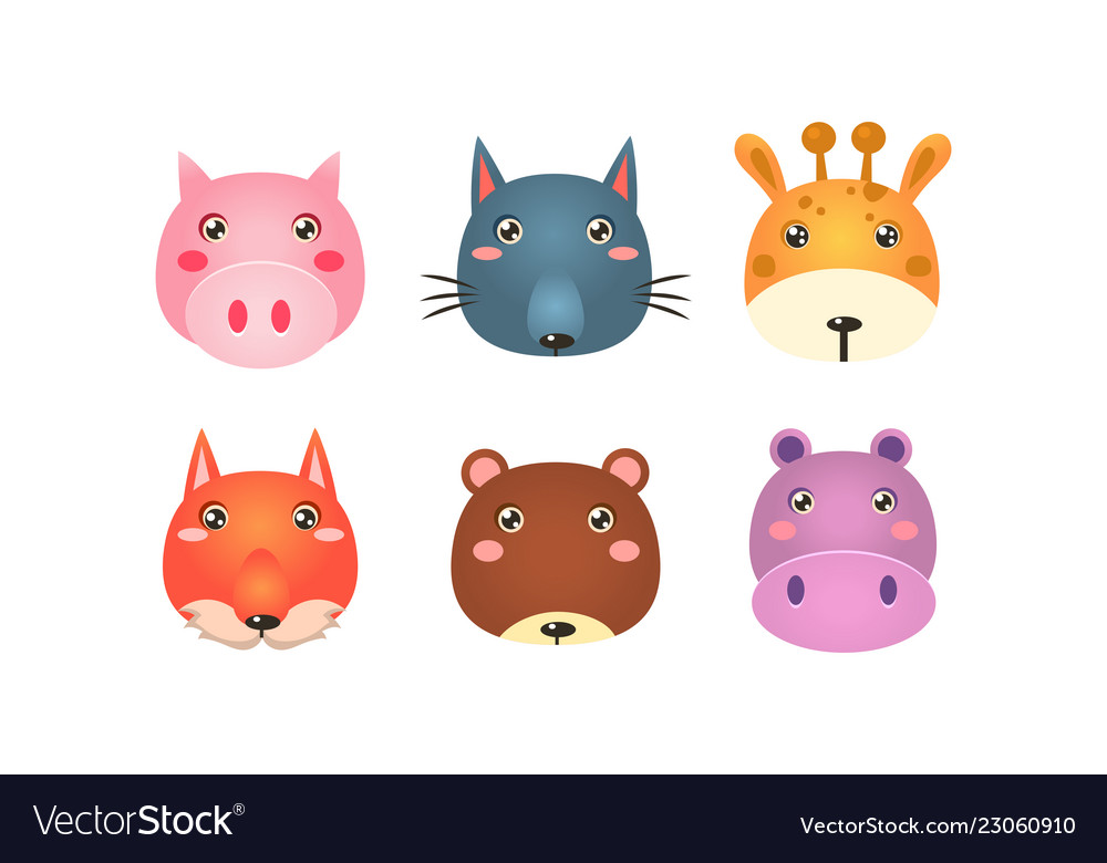Cute animal heads set funny faces of pig wolf
