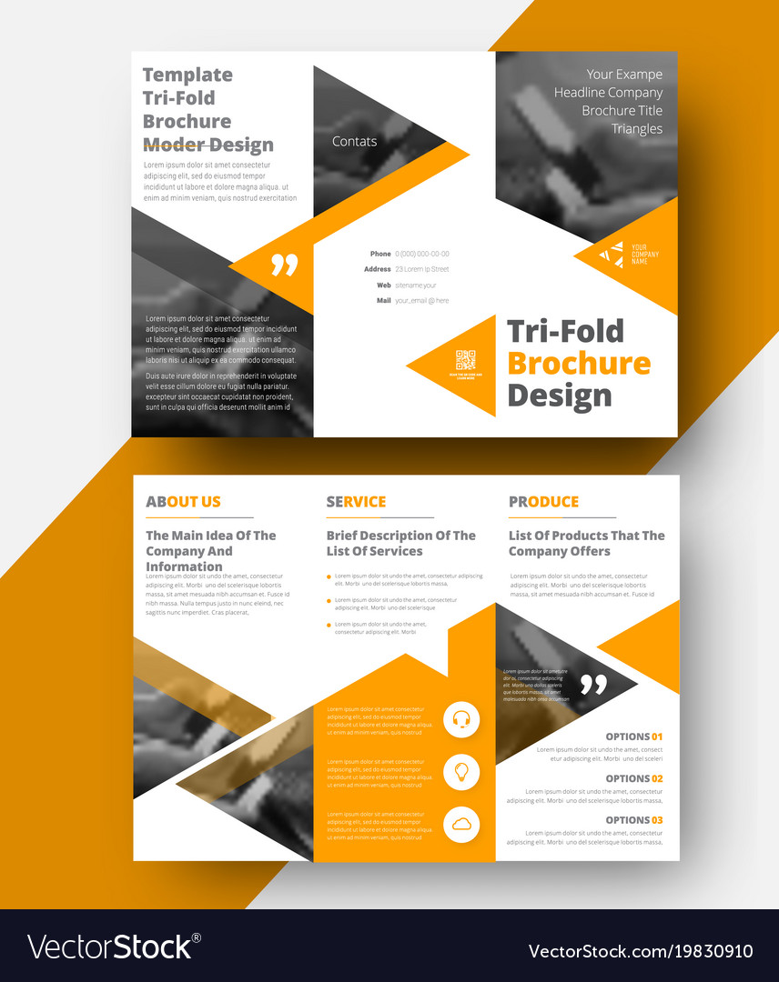design a white tri fold brochure royalty free vector image