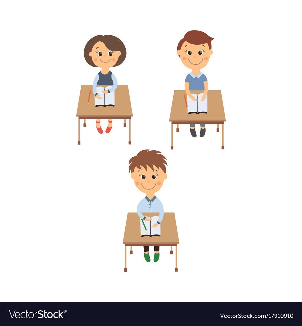 Flat children sitting at desk set