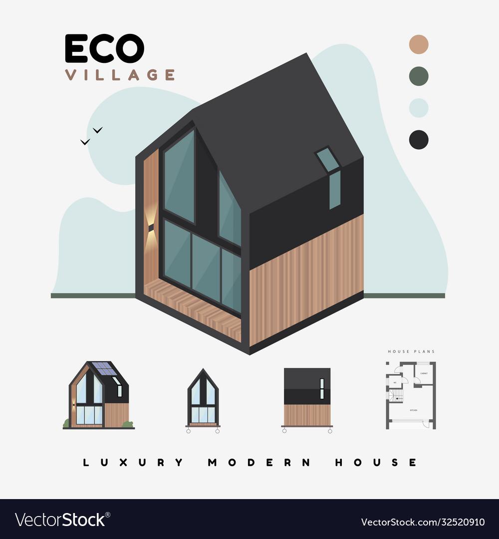 Luxury modern houses eco village isometric