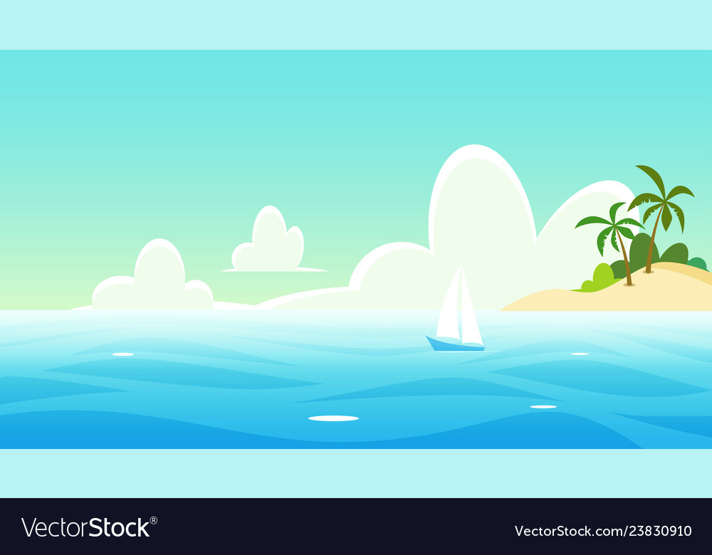Seascape with yacht and tropical island