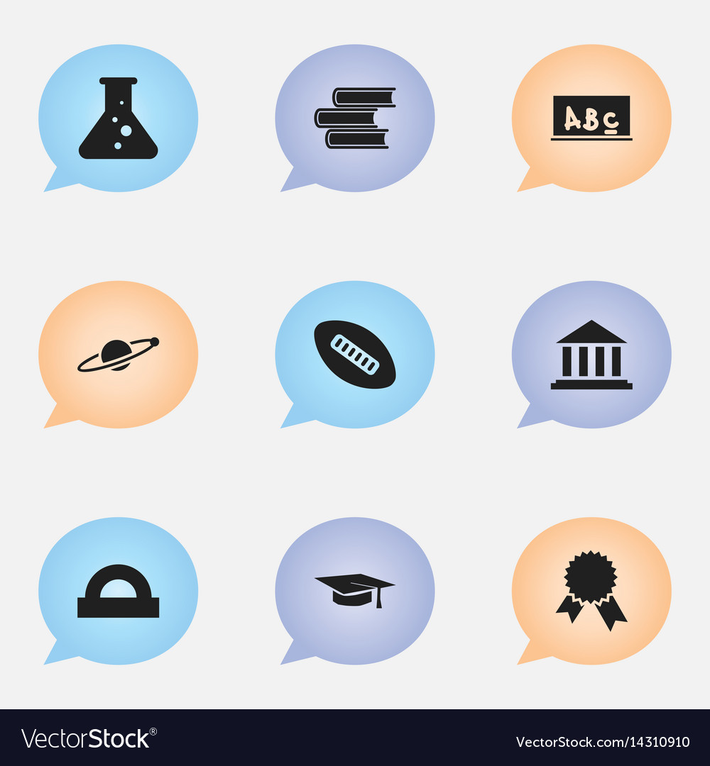 Set of 9 editable school icons includes symbols