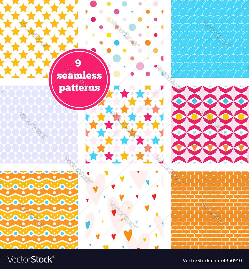 Set of nine rainbow seamless patterns vector image