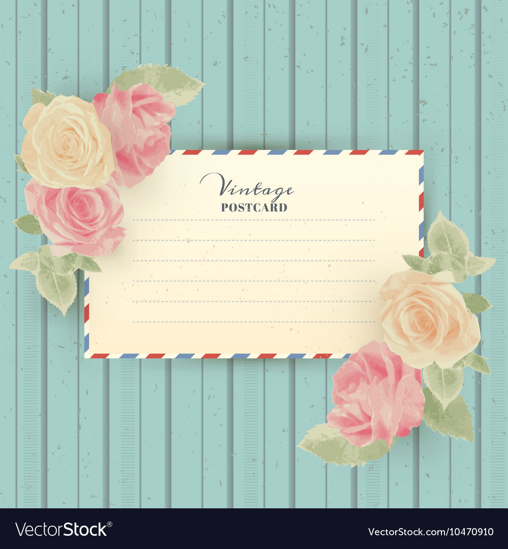 Vintage postcard with roses vector image