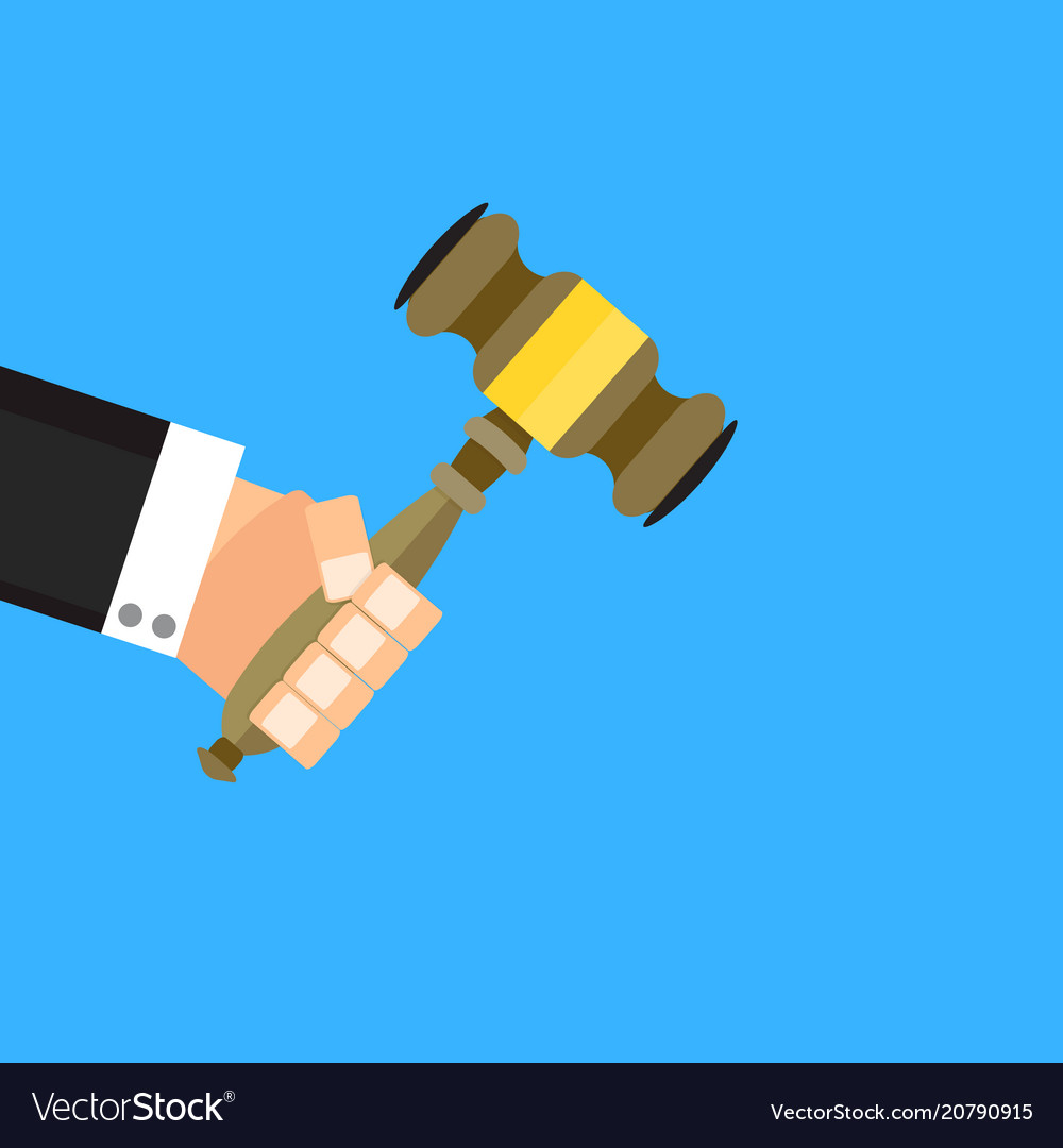 Auction hammer and stakes vector image