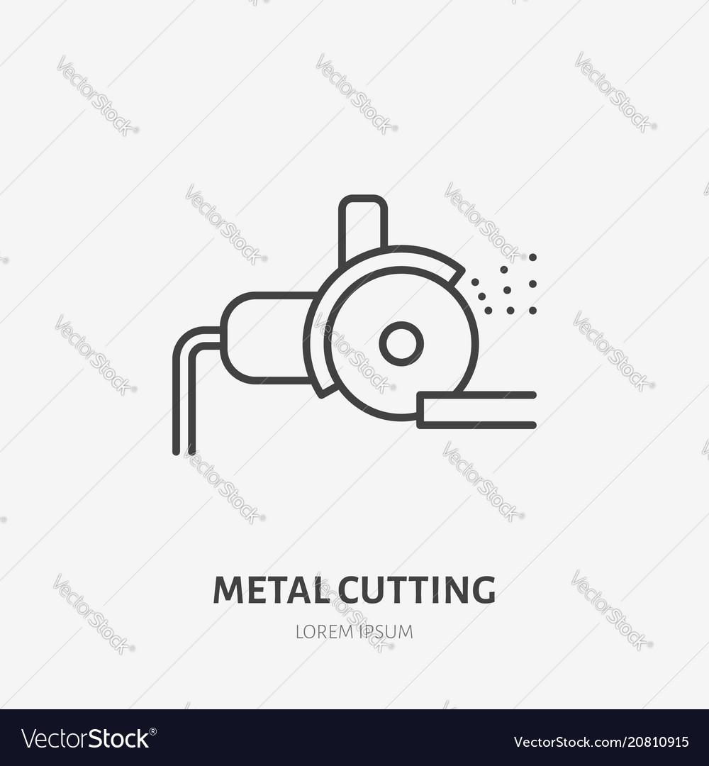 Bulgarian saw flat line icon metal works tool