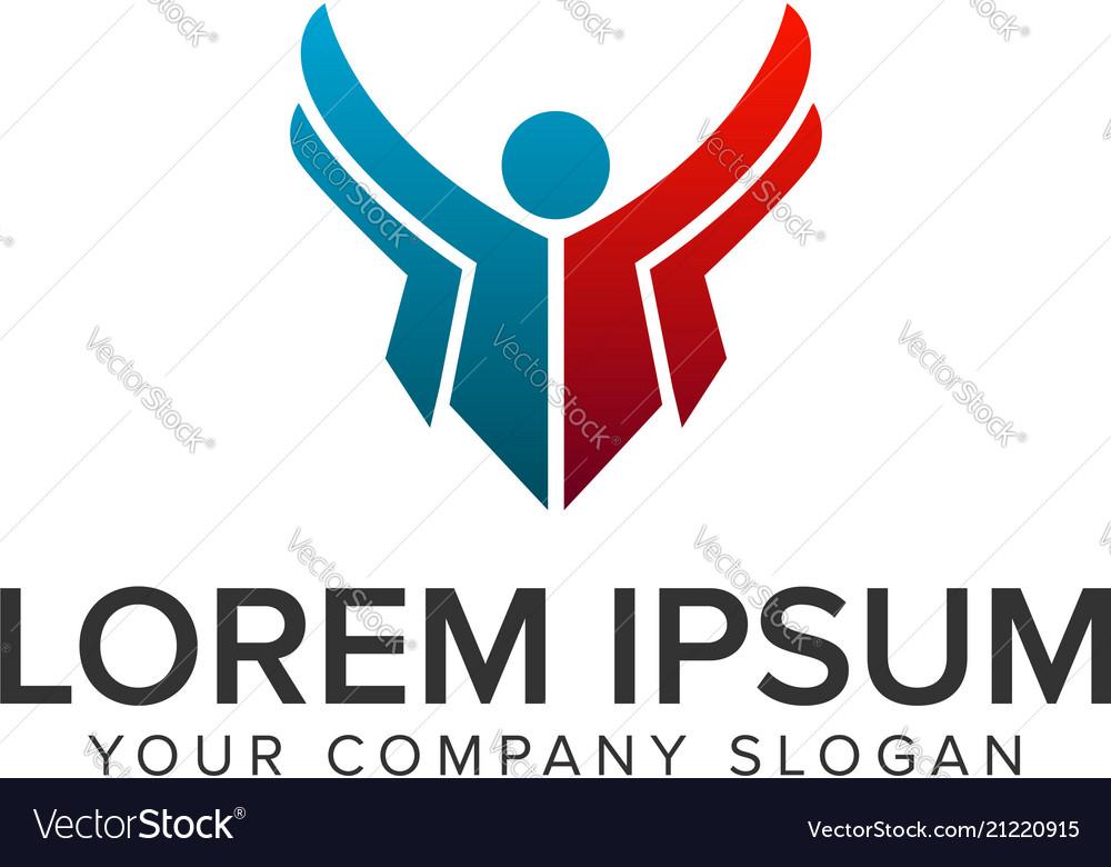 Business people success logo design concept