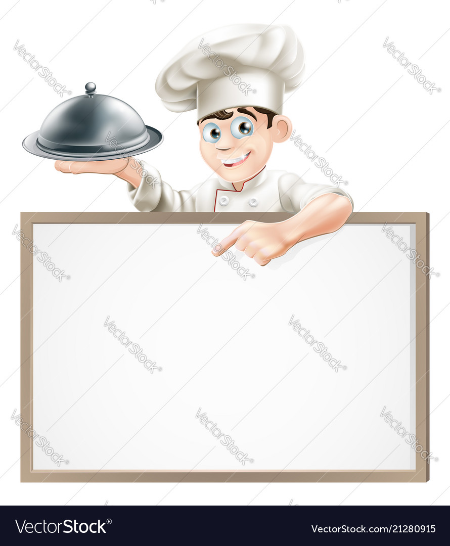 Cartoon chef with cloche and menu