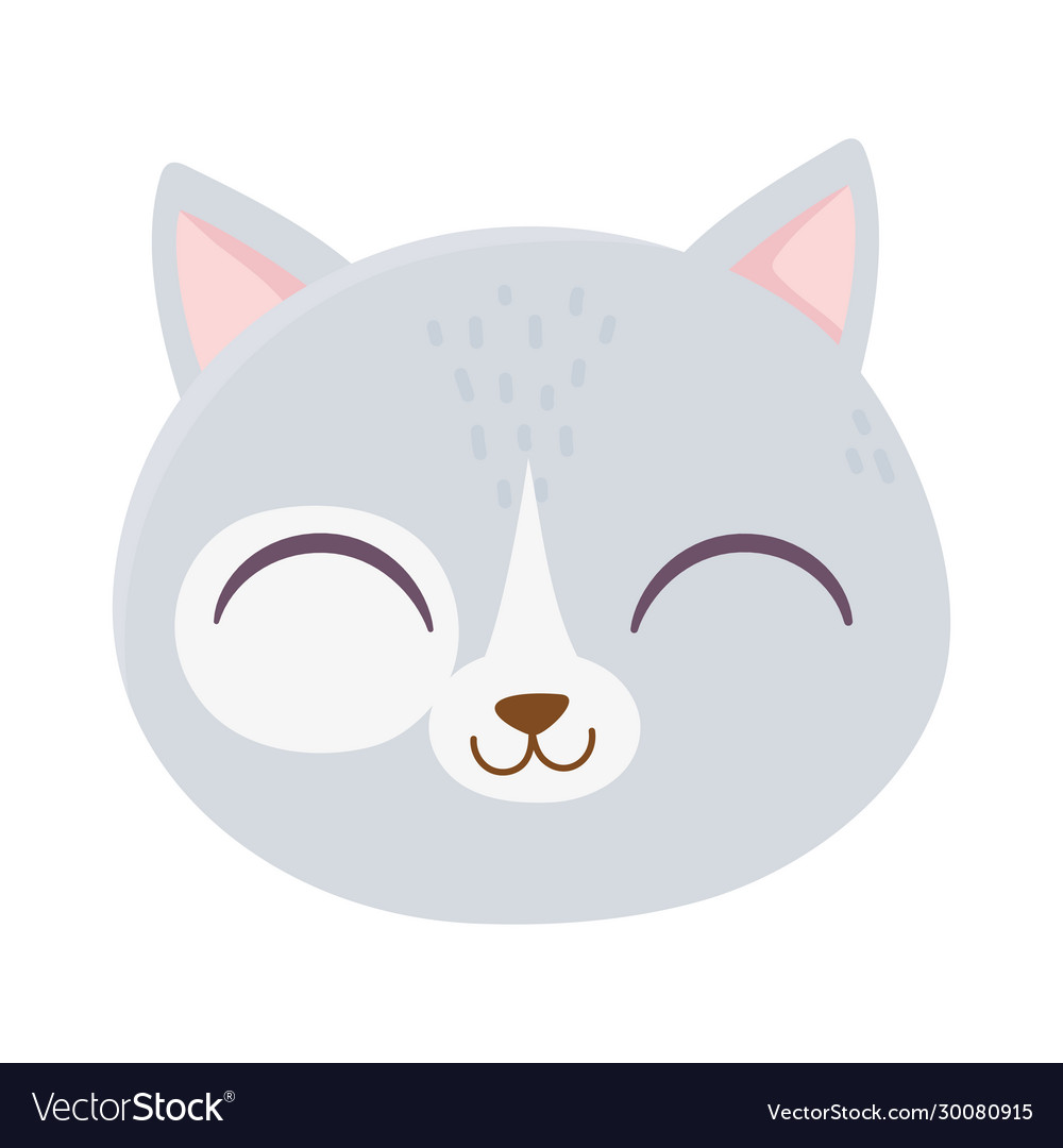 Cute cat face feline cartoon animal icon