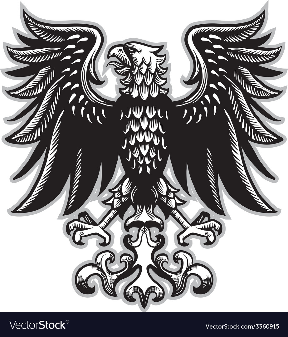 Eagle heraldry in classic pen style