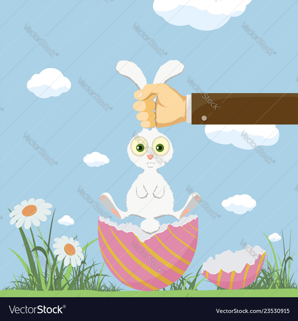 Easter egg and cute bunny