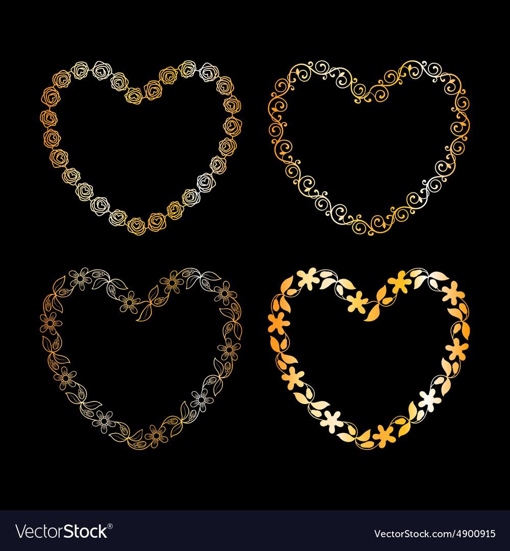 Golden floral heart frame