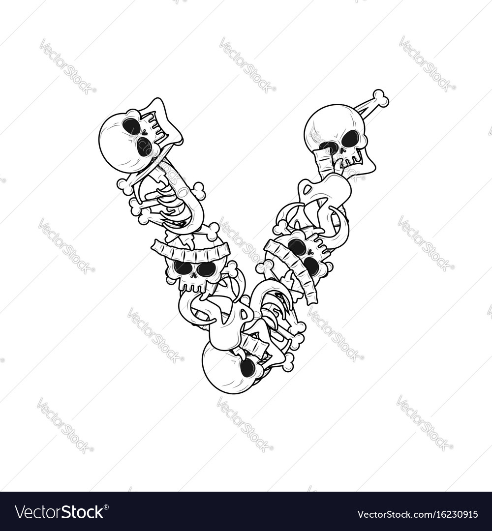 Letter v skeleton bones font anatomy of an Vector Image
