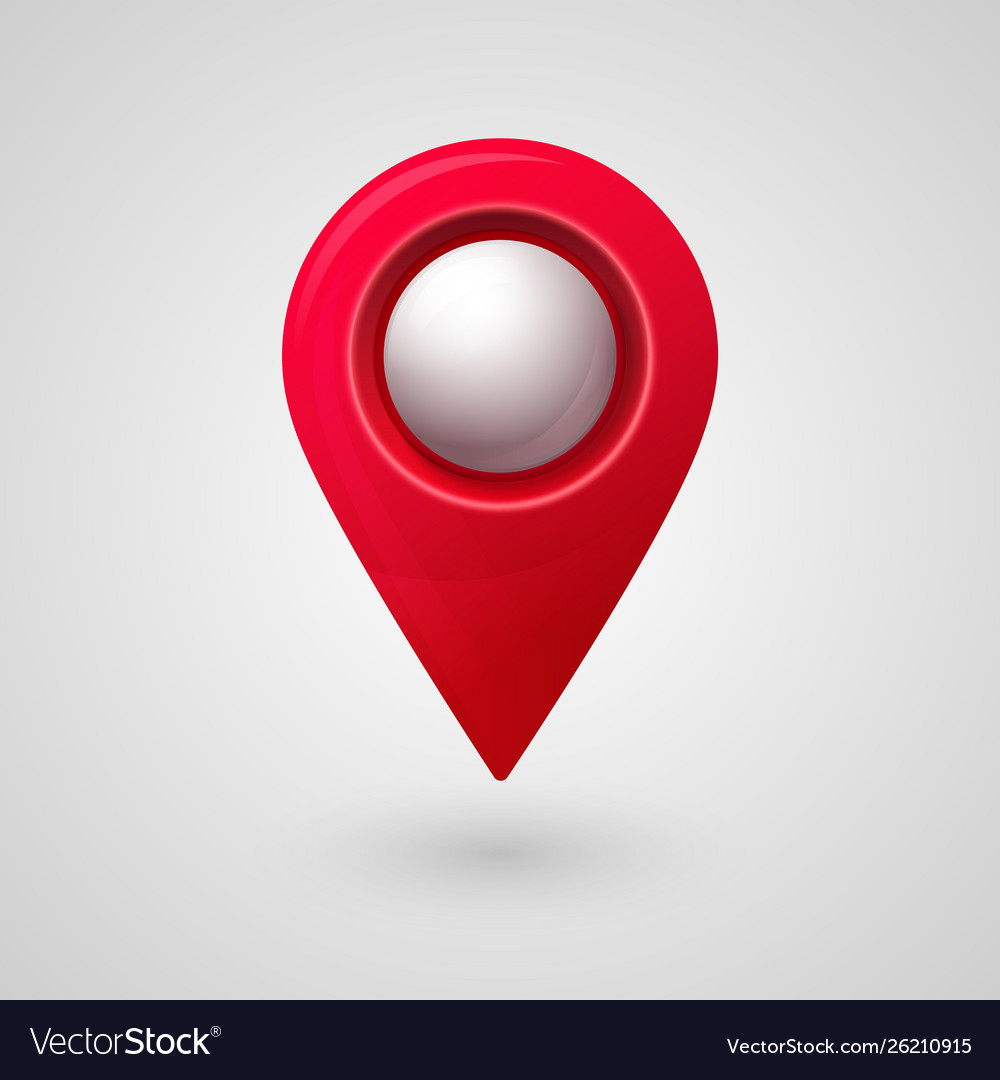 Map location pointer 3d pin with glowing glass