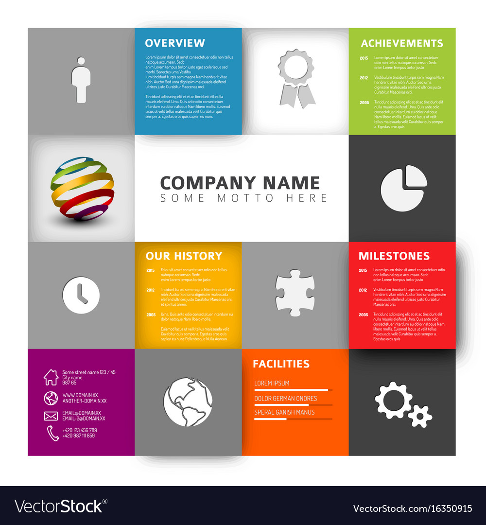 Corporate profile template selowithjo mosaic company profile template royalty free vector image accmission