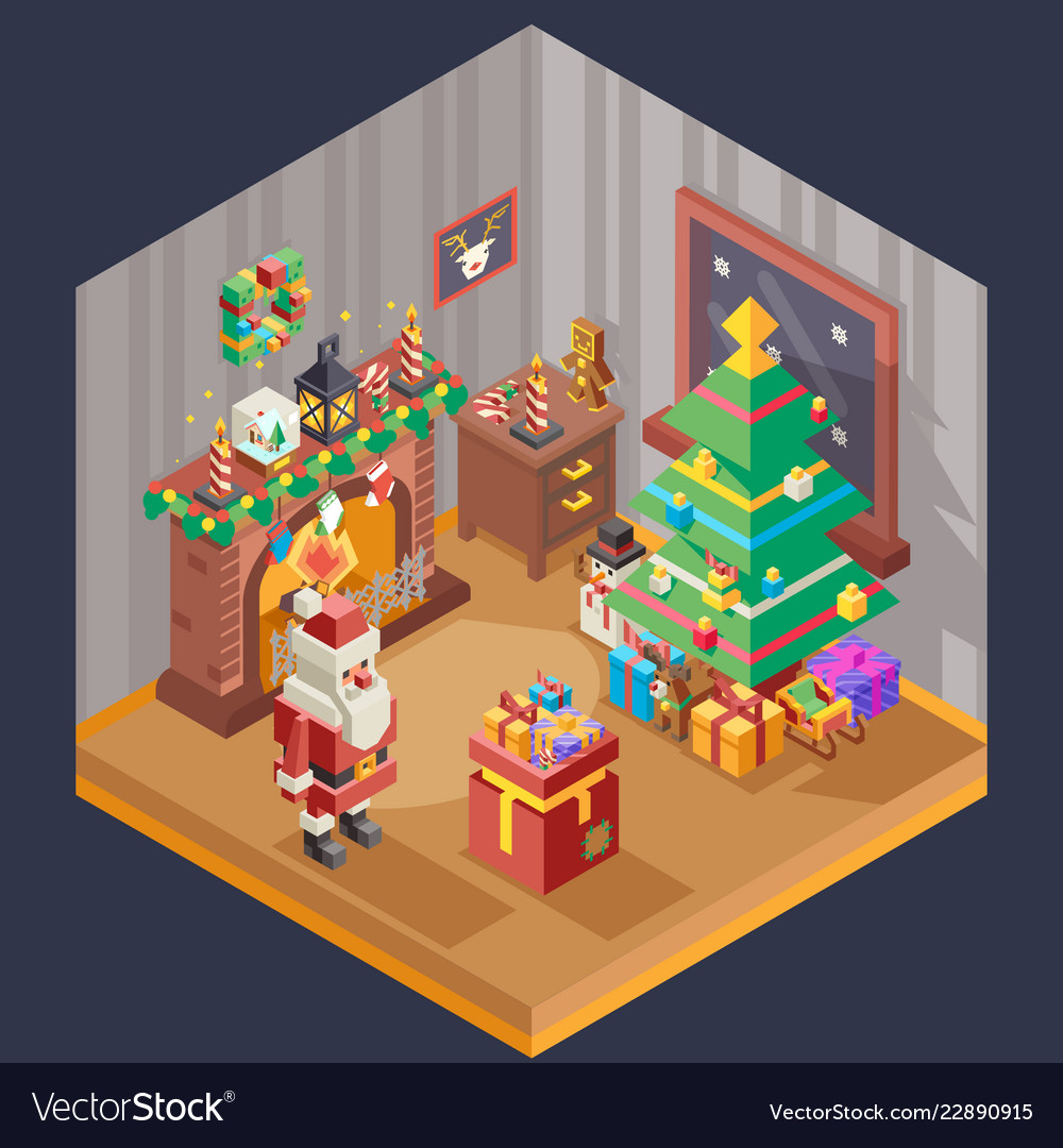 New year isometric room fireplace christmas tree