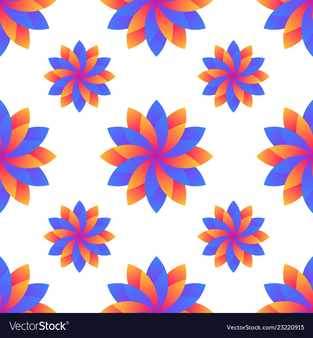 Seamless blue and orange gradient flowers