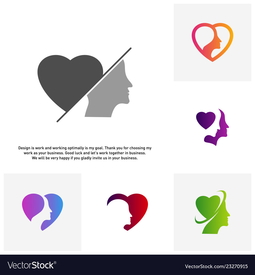 Set of head love logo head intelligence logo