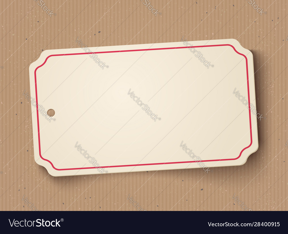 White paper banner on old cardboard