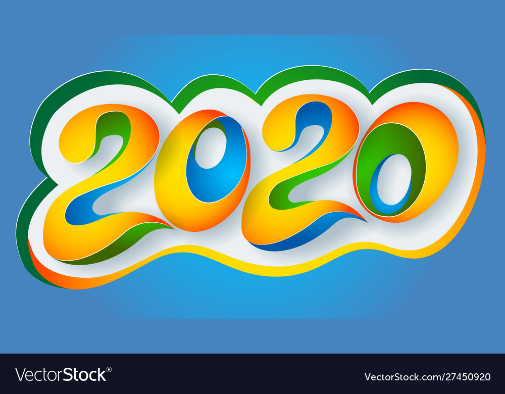 2020 new year colour banner paper cut art
