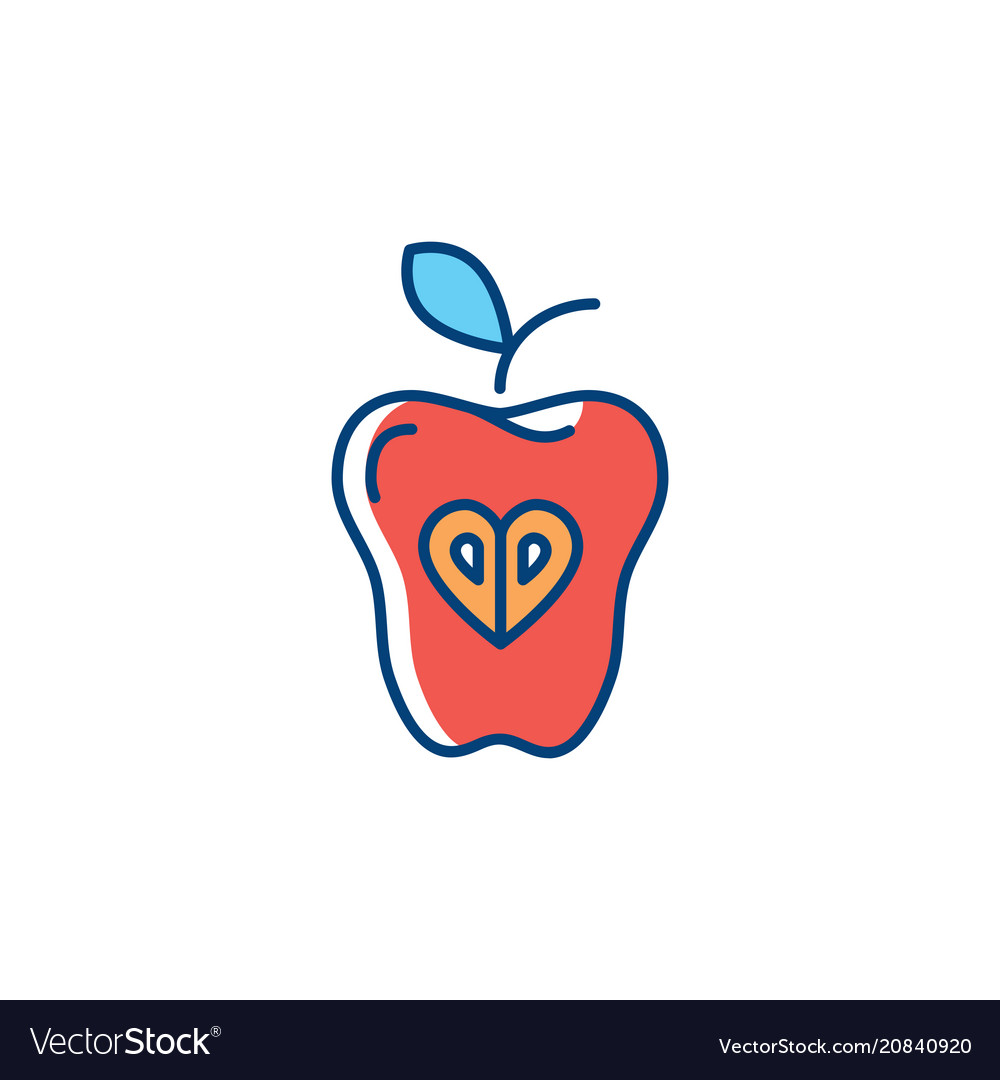 Apple icon red apple isolated fruit hipster flat