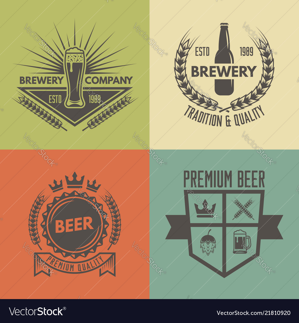 Beer and brewery isolated monochrome labels
