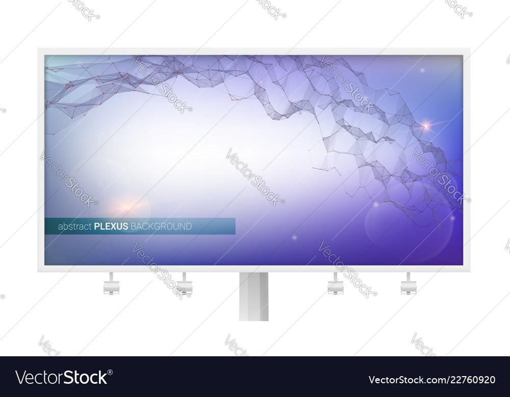 Billboard with abstract digital background plexus