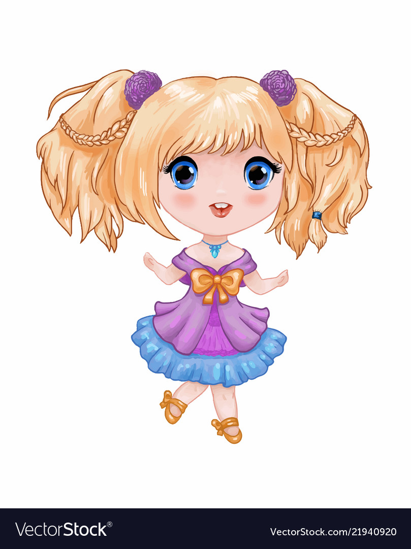 Chibi little cute anime girl in purple blue vector image