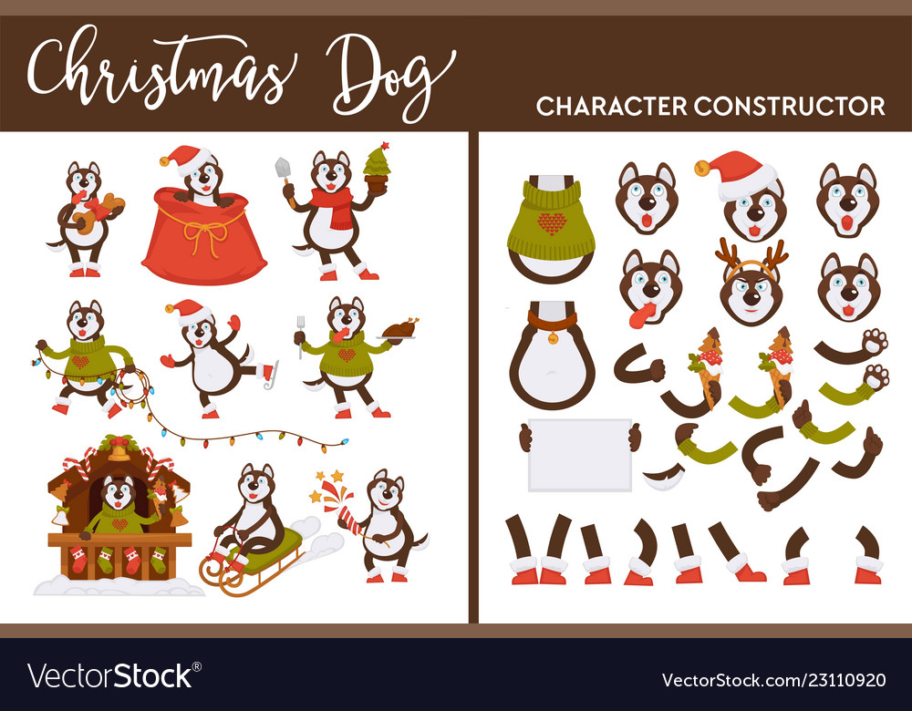 Christmas dog character constructor canine on