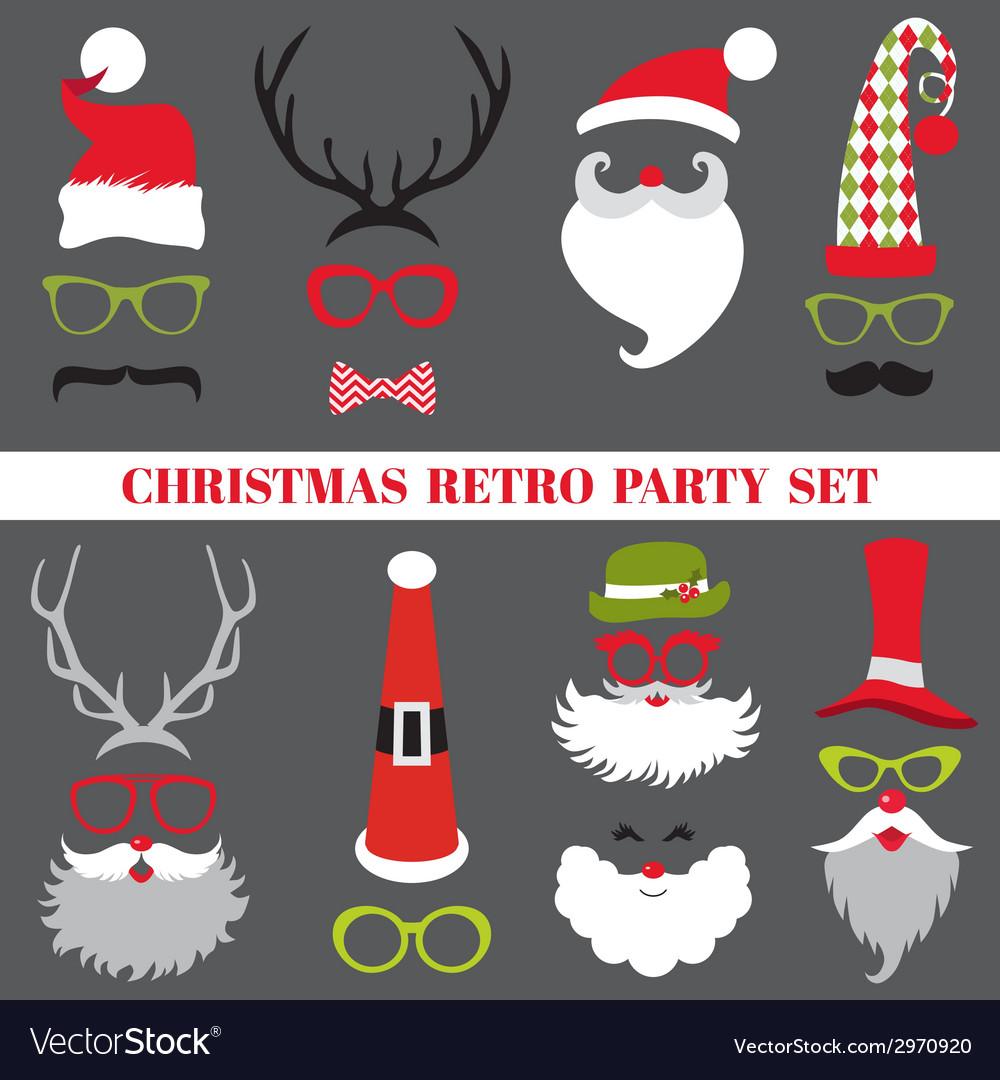 Christmas Retro Party set - Glasses hats lips vector image