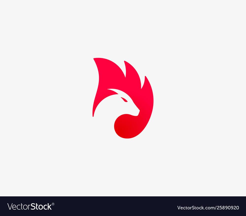 Dragon fire wing logo animal head negative