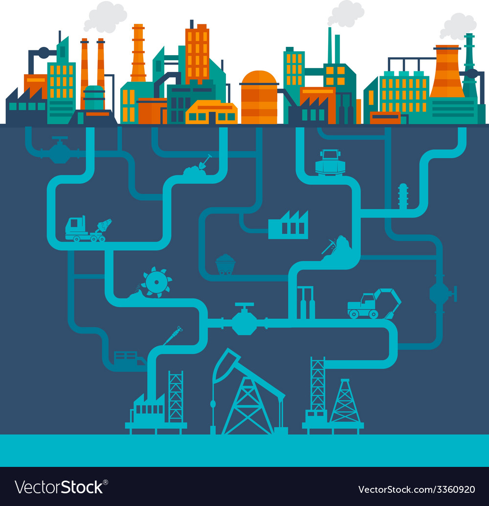 Flat industry background vector image
