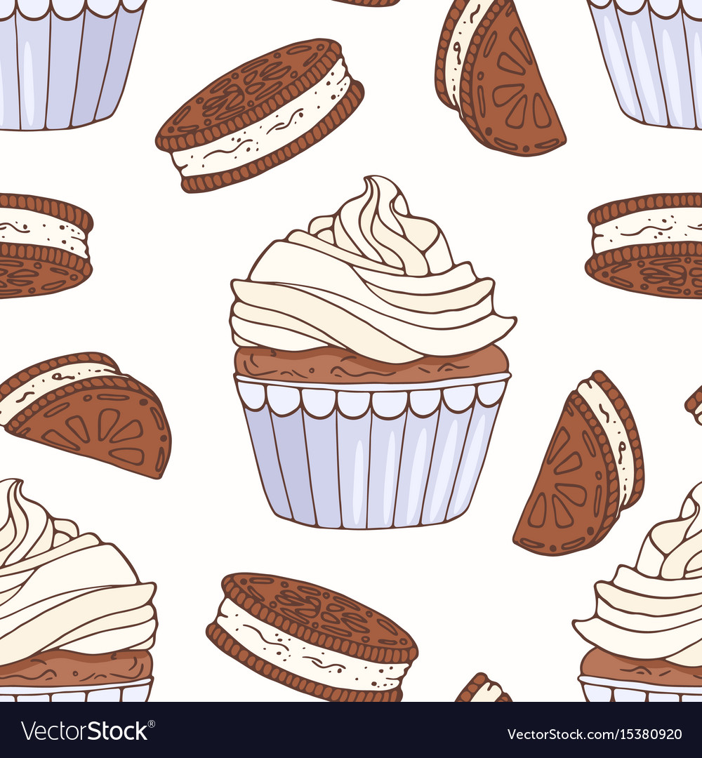 Hand drawn seamless pattern with doodle cupcake
