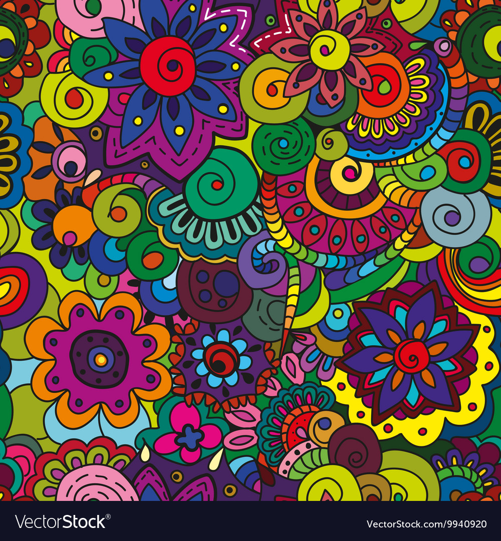 Seamless Colorful Floral Pattern Royalty Free Vector Image