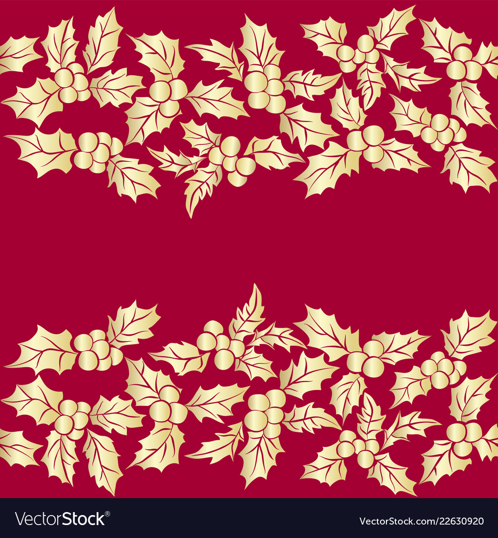 Set of christmas holly leavesseamless pattern of
