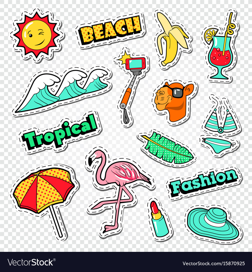 Beach vacation stickers tropical holidays doodle