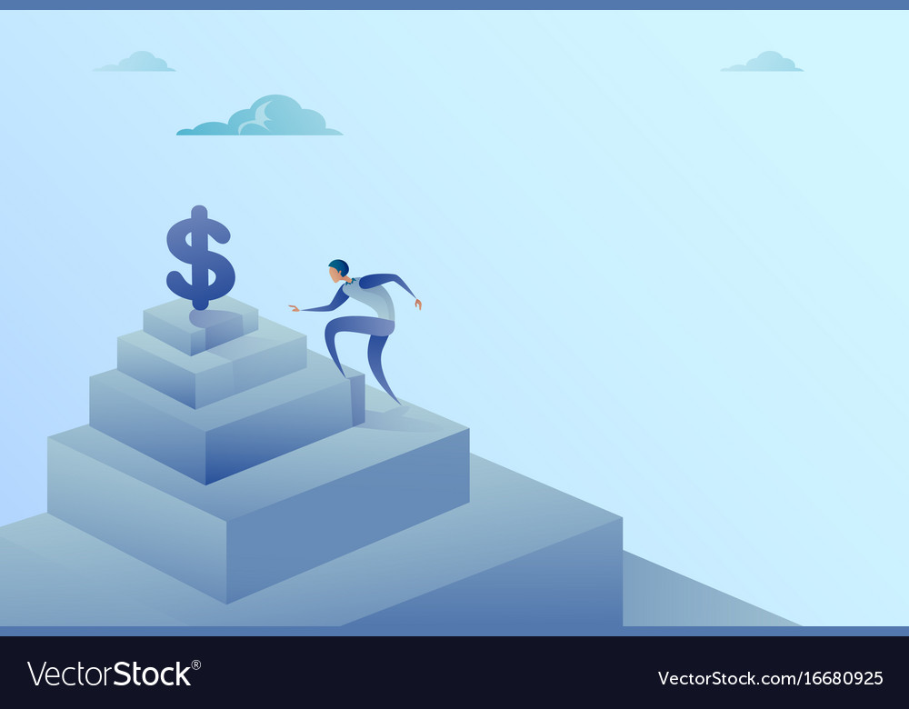 Business man climbing stairs to dollar sign