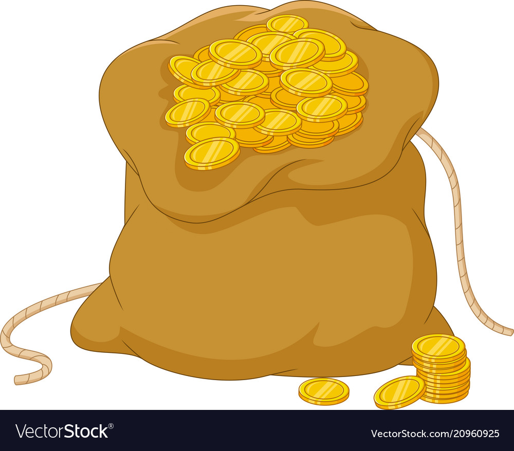 Cartoon bag of coins isolated on a white backgroun