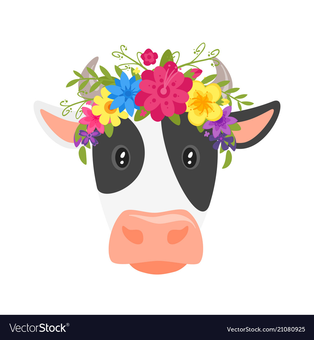 Cow head with floral wreath