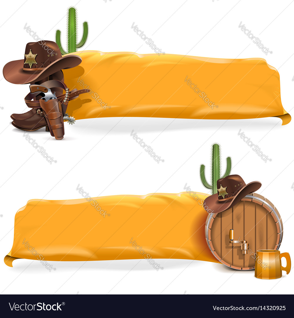 Cowboy billboards with yellow flag
