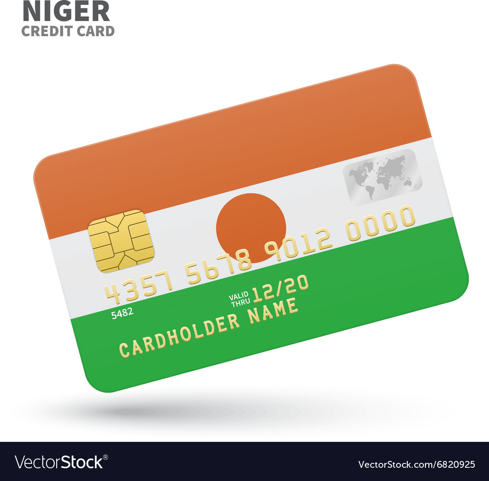 Credit card with Niger flag background for bank